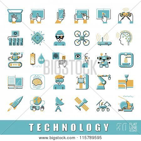 Set of technology icons. Vector illustration.  Flat line  icons.
