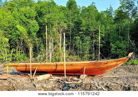 Stranded row boat