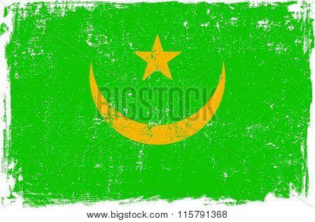 Mauritania vector grunge flag isolated on white background.