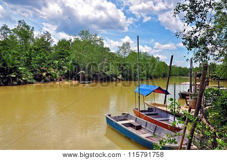 boats resting along river in asian rural area