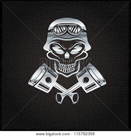 Silver Biker Theme Design Template With Pistons And Skull In Helmet