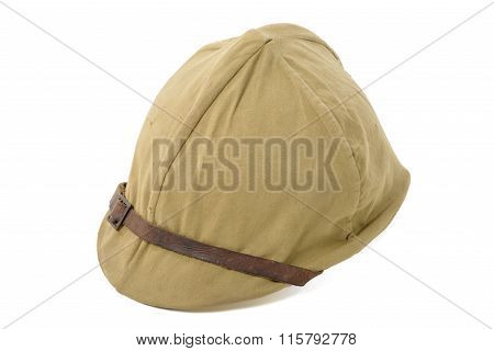 French Military Helmet Of Wwii Isolated On The White Background