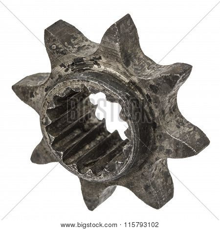 Gear Wheel After Heat Treatment Close-up, Isolated On A White Background