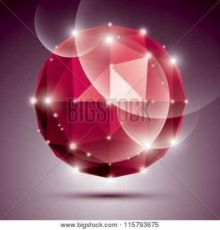 Abstract 3D Ruby Twinkle Sphere With Sparkles, Red Precious Stone, Eps10.