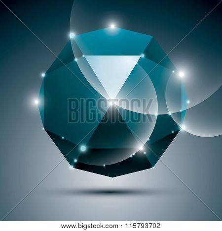 3D Blue Shiny Sphere. Vector Fractal Dazzling Abstract Illustration - Eps10 Jewel. Gala Theme.