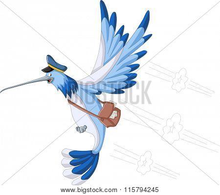 Blue cartoon hummingbird with a postman bag