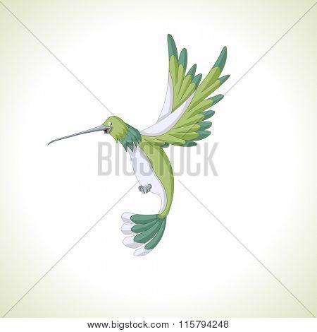 Cute green cartoon hummingbird flying