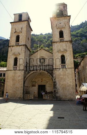 Kotor, Montenegro - July 07, 2014: St. Tryphon Cathedral