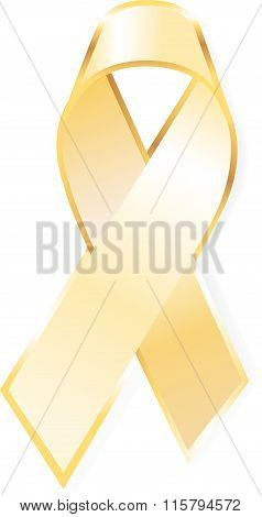Aids awareness yellow ribbon isolated on white background