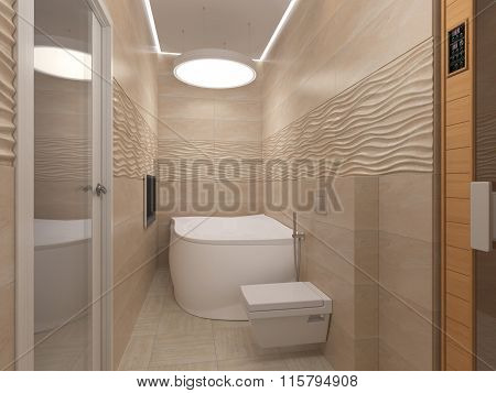 3D Illustration Of The Bathroom In Beige Tones