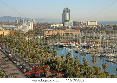 Barcelona, Catalonia, Spain - December 12, 2011: View Of Port Vell  In Barcelona, Spain