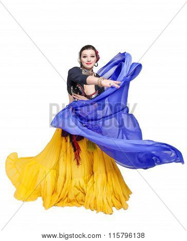 Beautiful Exotic Belly Tribal Dancer With Blue Shawl Woman