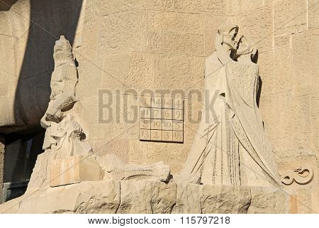 Barcelona, Catalonia, Spain - December 12, 2011:  Passion Facade Of Sagrada Familia Temple, Barcelon