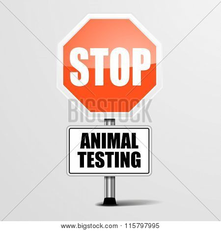 detailed illustration of a red stop animal testing sign, eps10 vector