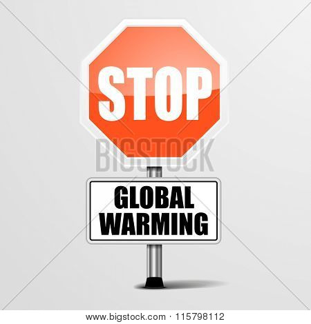 detailed illustration of a red stop Global Warming sign, eps10 vector