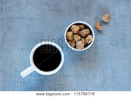 Coffee Cup And Brown Sugar