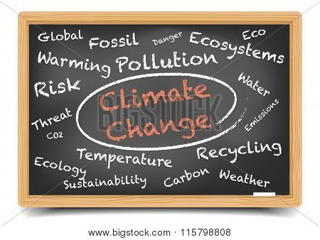 detailed illustration of a Climate Change wordcloud on a blackboard, eps10 vector, gradient mesh included