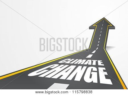detailed illustration of a highway road going up as an arrow with Climate Change text, eps10 vector