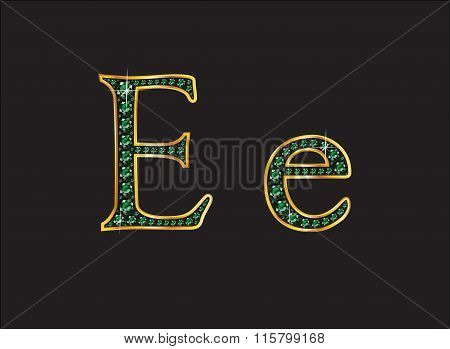 Ee In Emerald Jeweled Font With Gold Channels