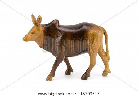 Wood Cow Isolated On White Background