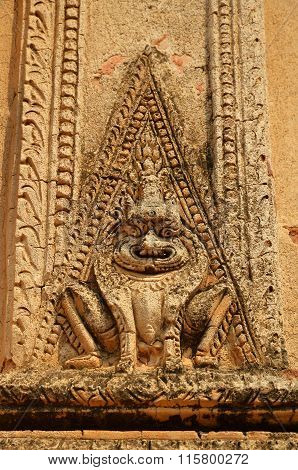 Ancient Figure Oo Top Of Gate In Bagan Temple, Myanmar