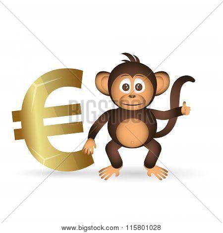 Cute Chimpanzee Little Monkey And Euro Symbol Eps10