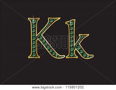 Kk In Emerald Jeweled Font With Gold Channels