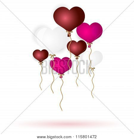 Colorful Helium Balloons Heart Shape For Love And Valentine Eps10