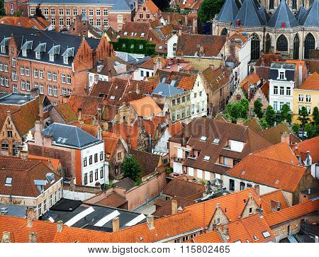 Roofs And Facades Of Flemish Houses In Brugge, Belgium