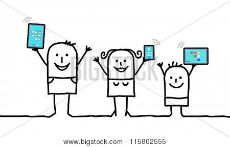 cartoon family holding connected digital  tablets and phones