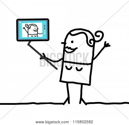 cartoon girl taking a picture of herself
