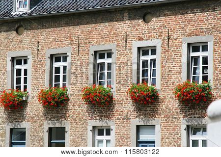 Old house with flowers in Aachen Germany
