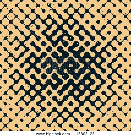 Vector Seamless Halftone Gradient Rounded Irregular Navy Tan Grungy Pattern