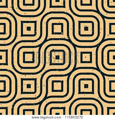 Vector Seamless Wavy Lines Irregular Retro Grungy Pattern
