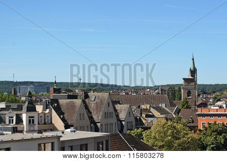 Downtown Aachen with old roofs. North Rhine-Westphalia germany.