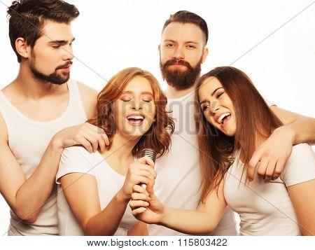 friends  having fun at karaoke