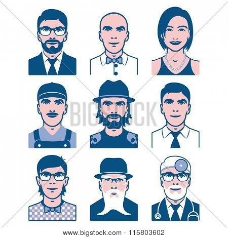 Users avatars. Occupation and people icons. Collection of people avatars for profile page, social network, different age man and woman characters. Vector illustration