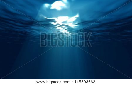 Light Underwater In Ocean