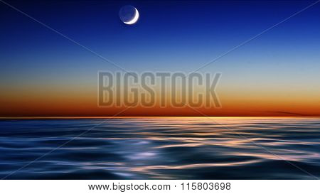 night sky over the sea with moon