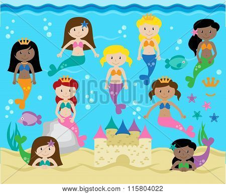 Vector Collection of Cute Mermaids with Background