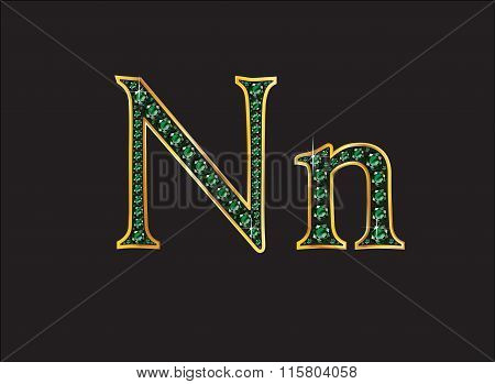 Nn In Emerald Jeweled Font With Gold Channels