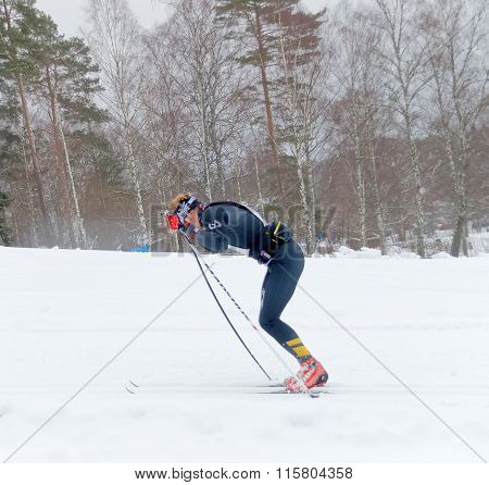 Rapid Cross Country Skiing Man Sprinting