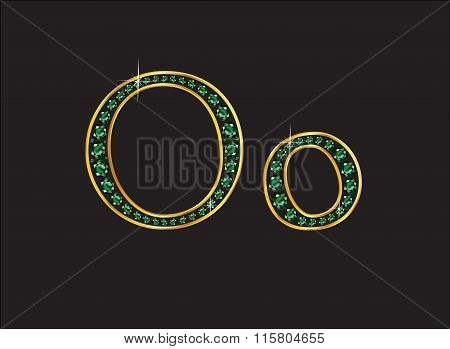 Oo In Emerald Jeweled Font With Gold Channels