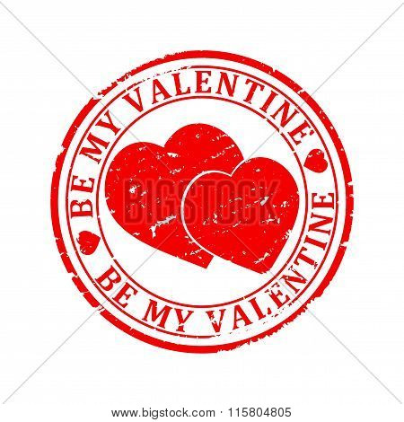 Damaged Red Stamp With The Words -  Be My Valentine