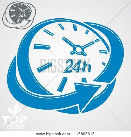 Elegant 3D Vector Round 24 Hours Clock, Around-the-clock Pictogram. Time Idea Perspective Dimensiona
