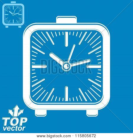 Vector Square Table Clock With Simple Clockwise, Includes Invert Version. Eps 8 High Quality Detaile