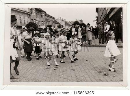 Vintage photo shows religious (catholic) celebration.