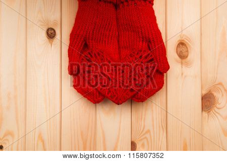 Girl In Mittens Gives A Heart On A Valentine's Day