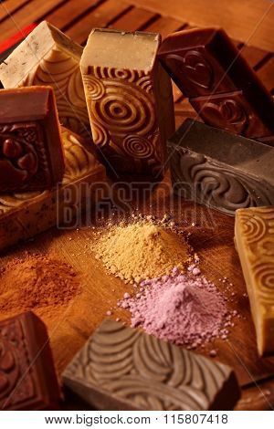 Close-up photo of aesthetic natural soap bars.