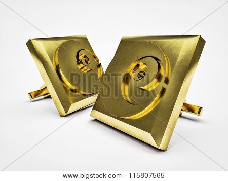 Gilded Pair Cufflinks  Isolated